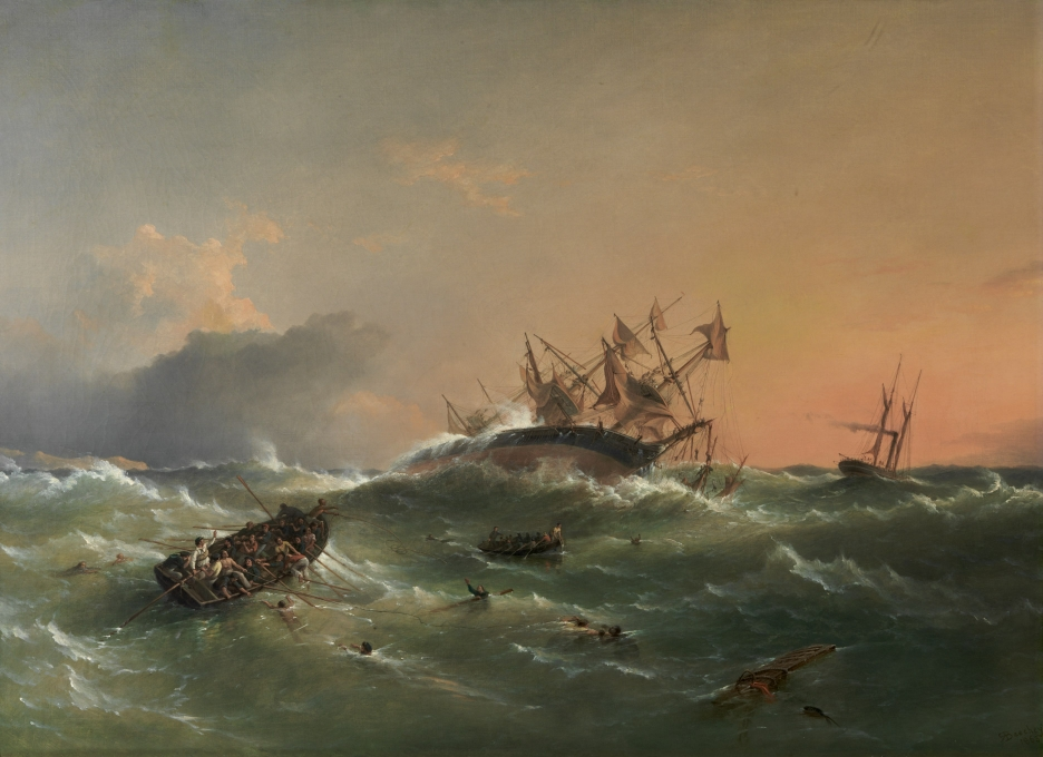 Richard Brydges Beechey  - Wreck of HMS Orpheus on Manukau B...