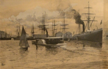 Artwork Schell F Mail Steamer Leaving Auckland